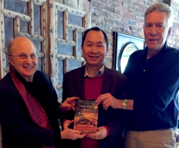 Authors Dick Pirozzolo and Michael Morris, flanl Tuan Nguyen CEO of Boston Global Forum as they present %22Escape from Saigon